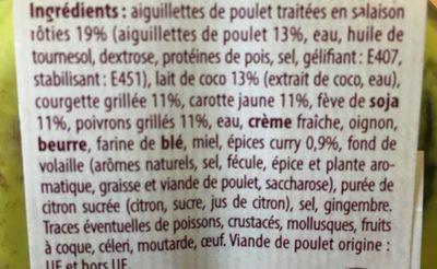 Curry de poulet au lait de coco - Inhaltsstoffe - fr