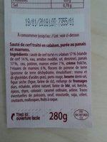 Sauté de cerf écrasé de panais & marrons entiers - Ingrédients - fr