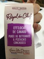 Effiloché de canard purée de betteraves et pistaches concassées - Produit