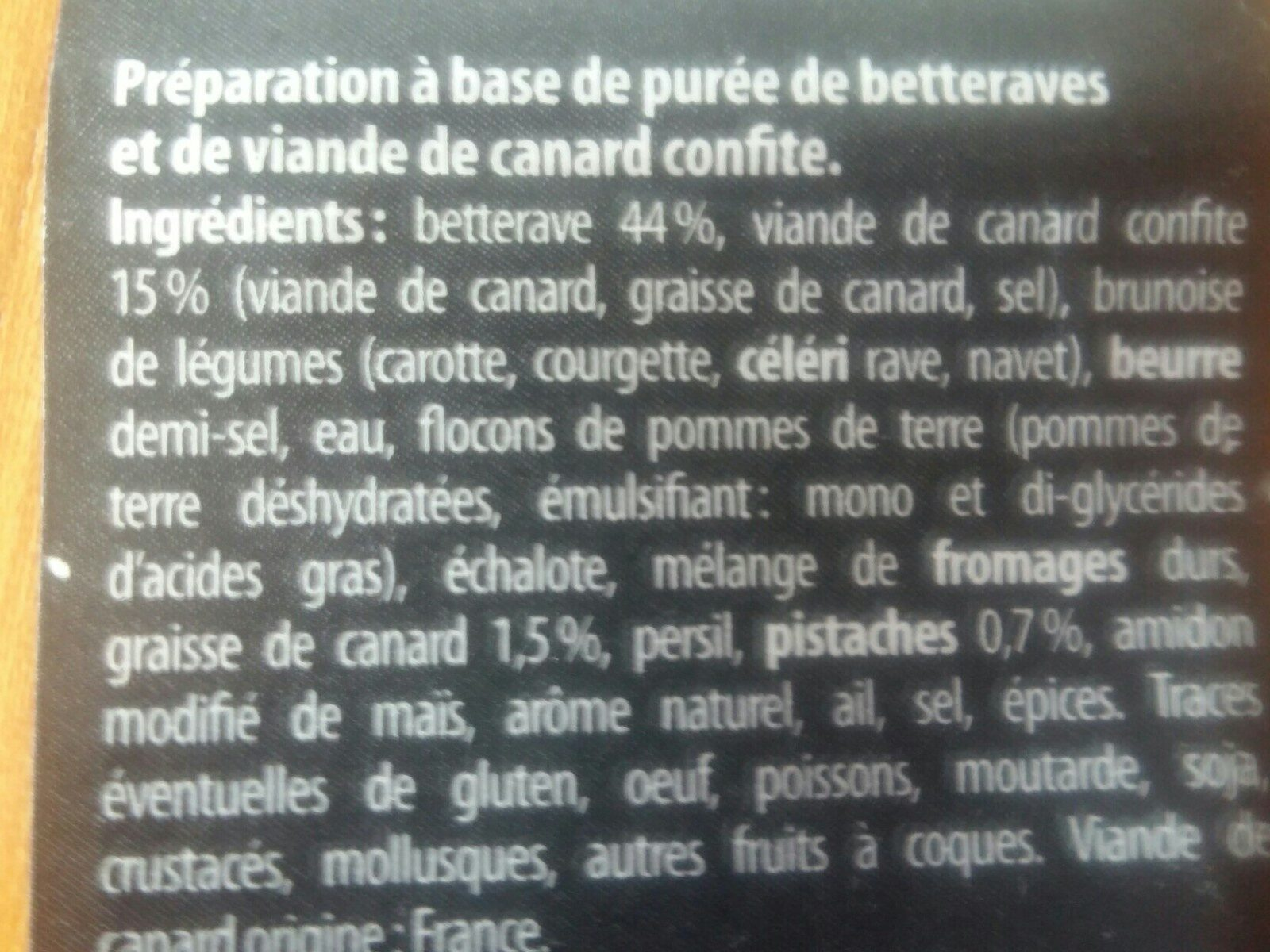 Effiloché de canard purée de betteraves et pistaches concassées - Ingrédients