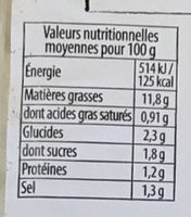 Céleri rémoulade (+20% gratuit) - Nutrition facts