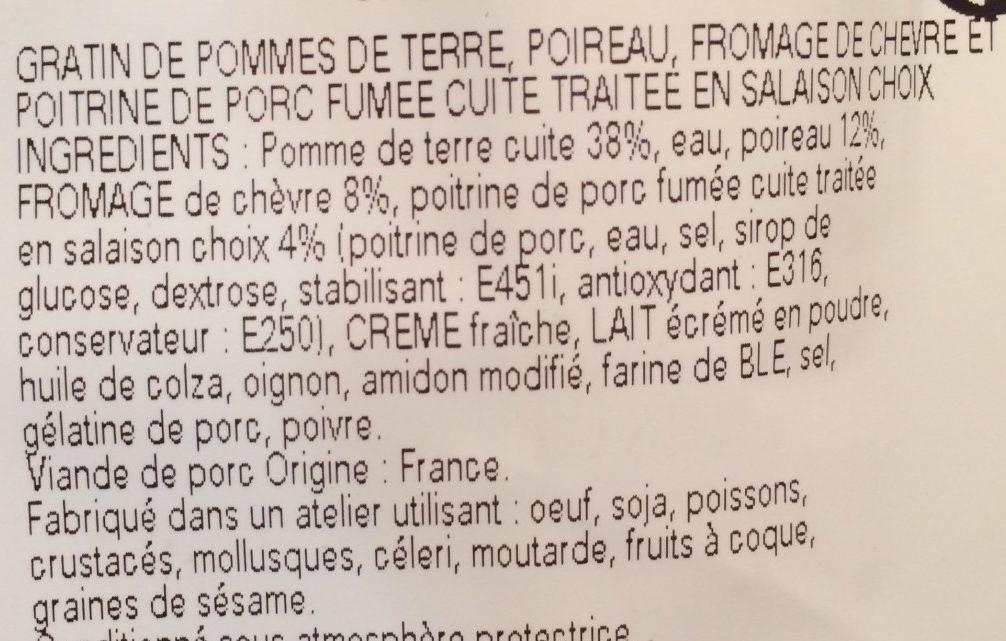 Gratin de pommes de terre et poireaux au chèvre et lardons - Ingrediënten - fr