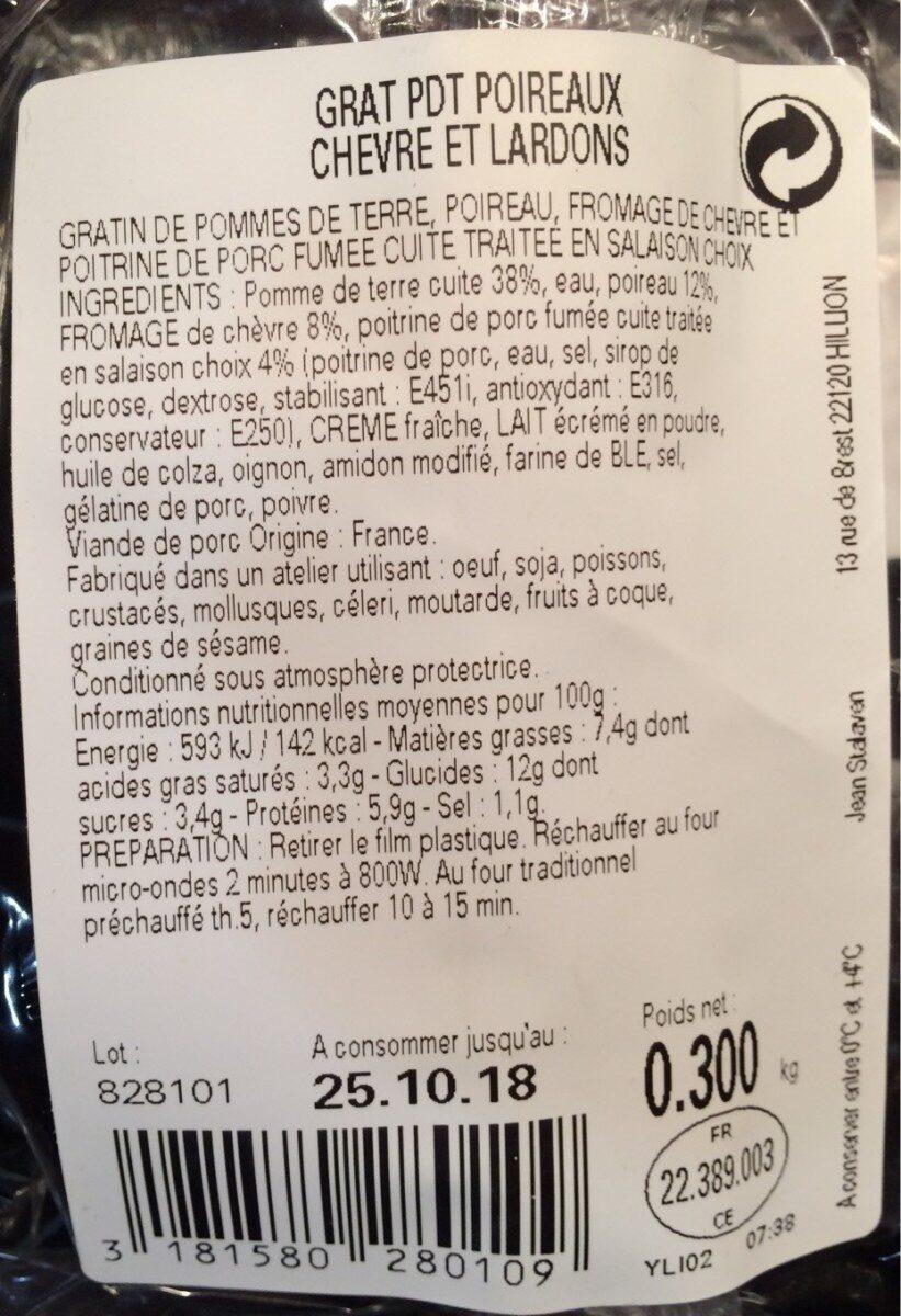 Gratin de pommes de terre et poireaux au chèvre et lardons - Voedingswaarden - fr