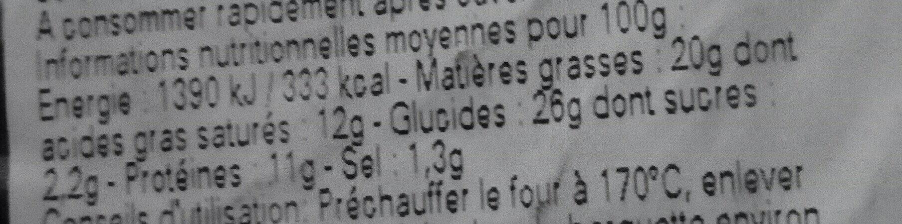 Petits chaussons dorés au thon - Informations nutritionnelles - fr