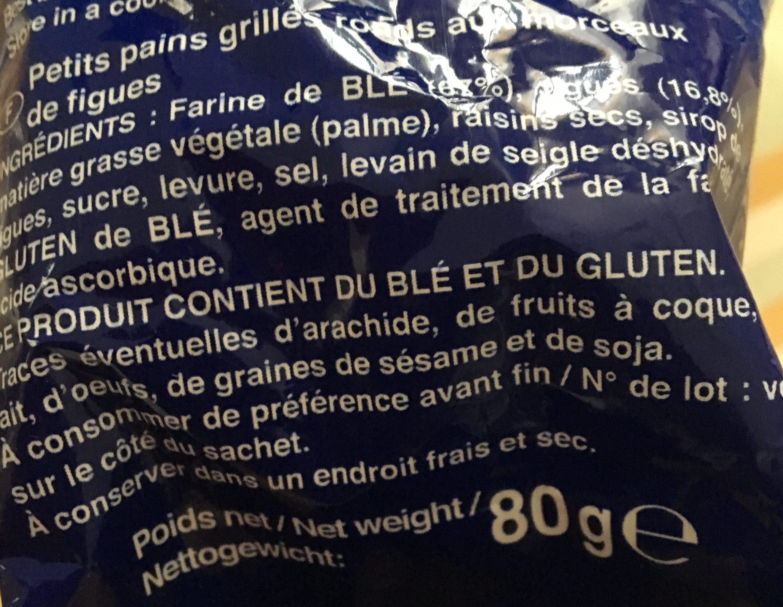 Mini Toast aux figues croustillants Pasquier - Ingrédients