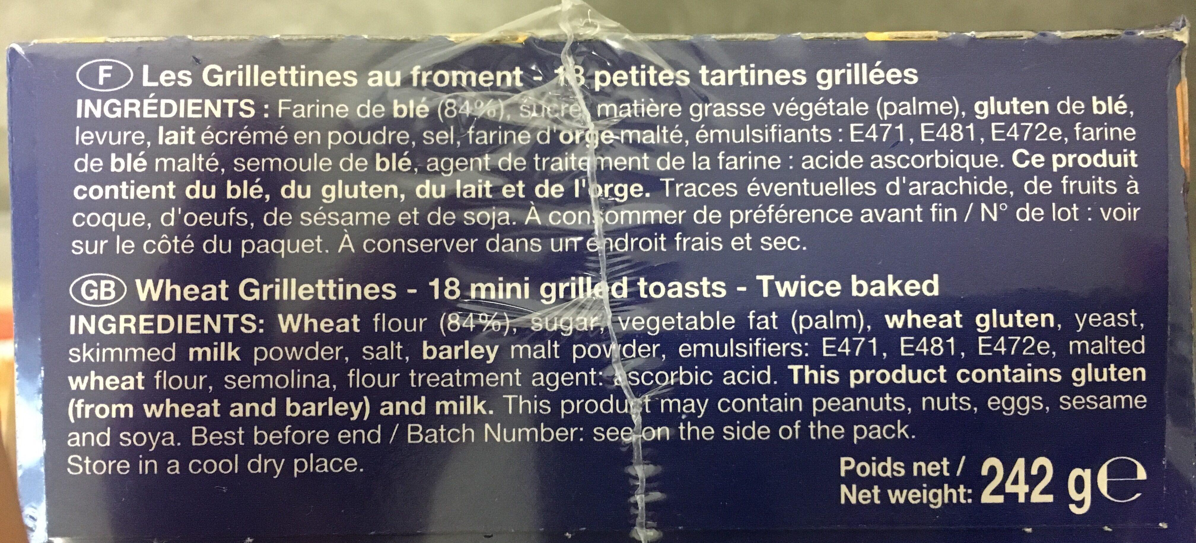 Pasquier grilletine froment - Ingrediënten - fr