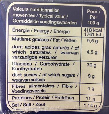 Pasquier grilletine froment - Voedingswaarden - fr