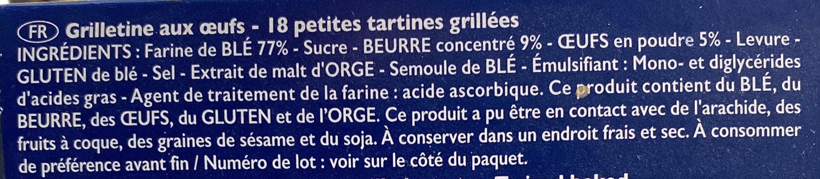 Grilletine briochée - Ingredients - fr