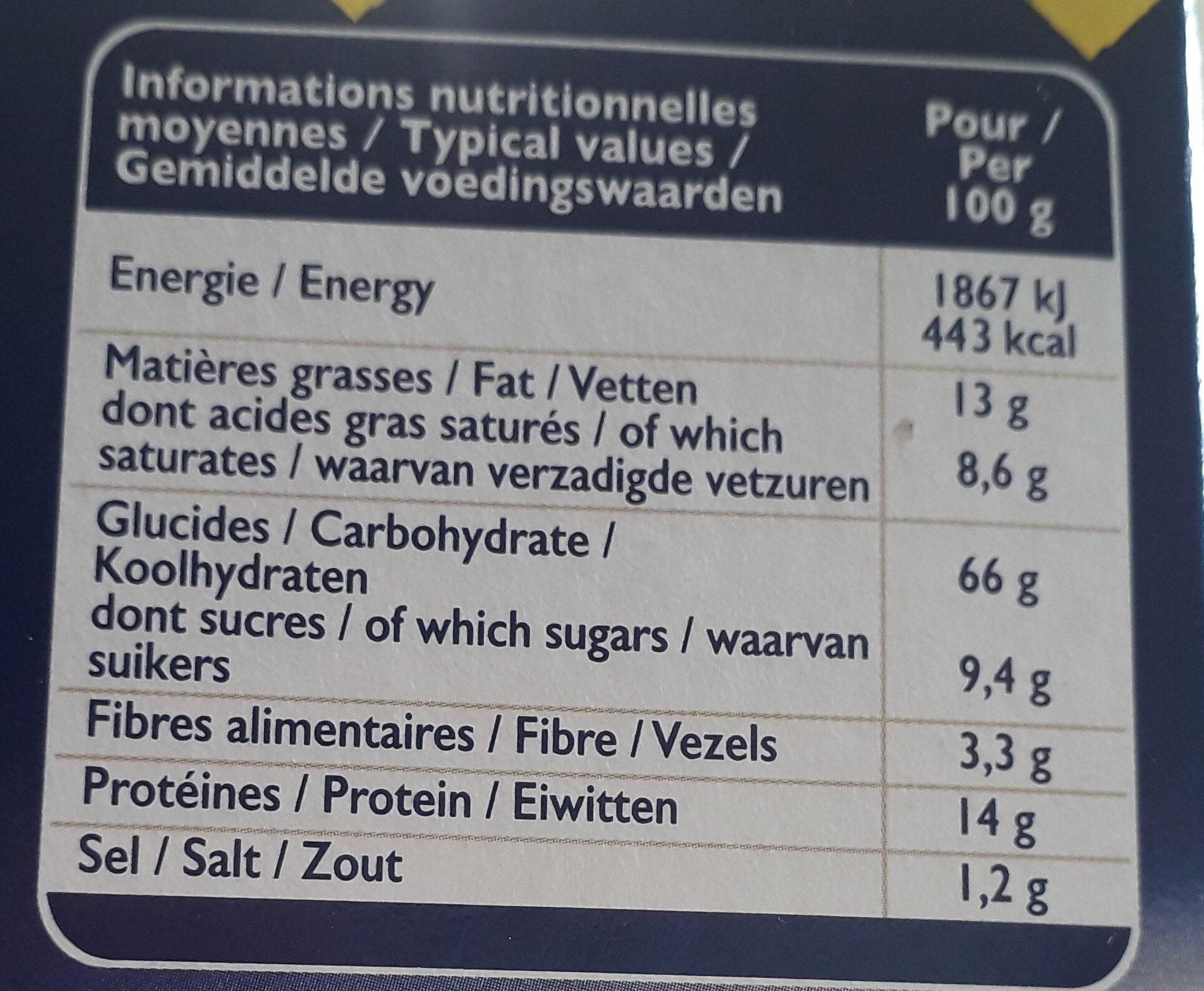 Grilletine briochée - Nutrition facts - fr
