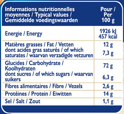 Grilletine Briochée x18 - Informations nutritionnelles - fr