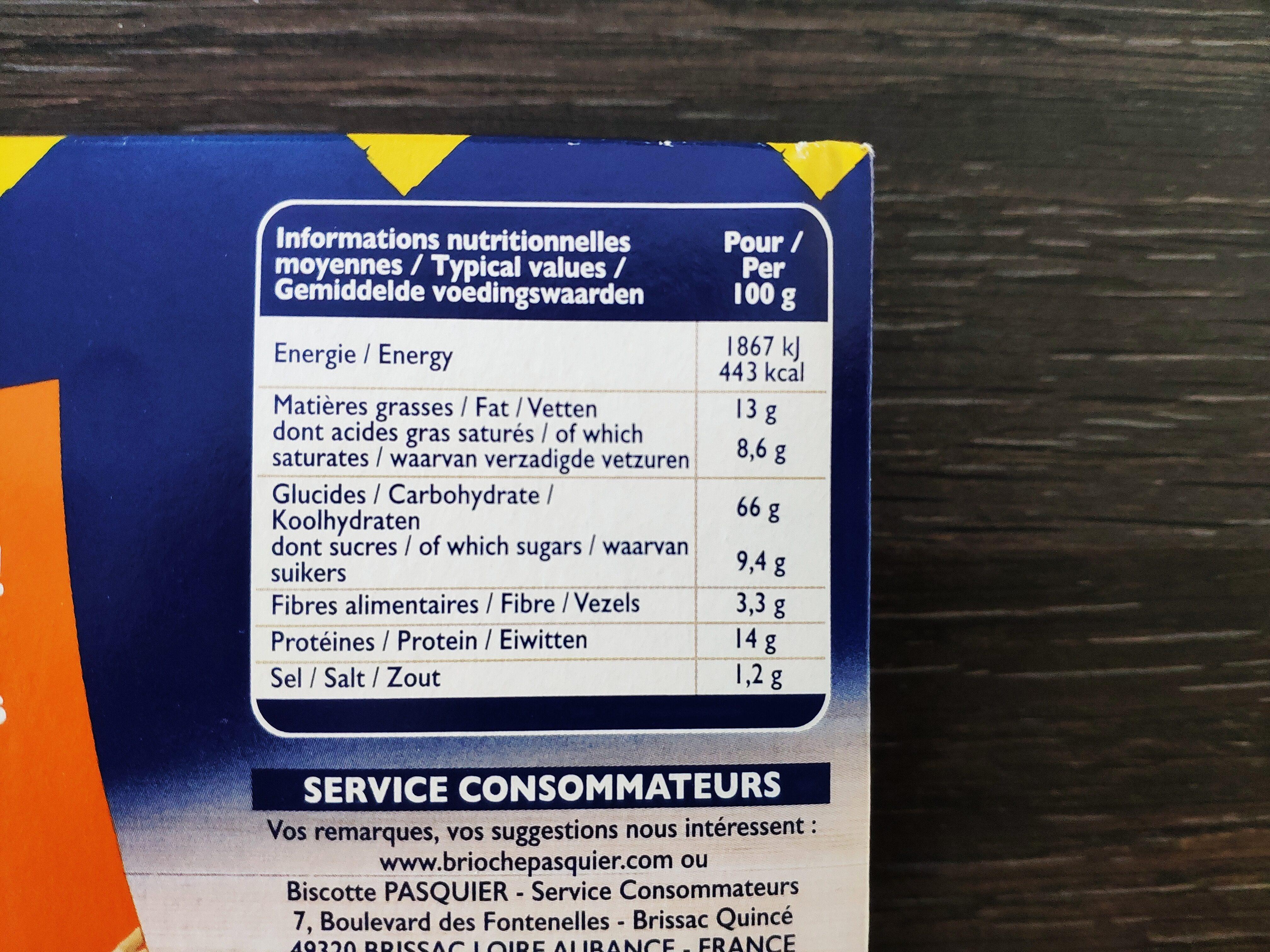Grilletine - Informations nutritionnelles