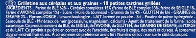 Grilletine Céréales et Graines x18 - Ingredients - fr