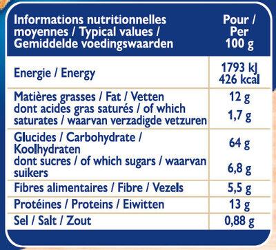 Grilletine Céréales et Graines x18 - Nutrition facts - fr