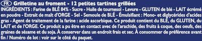 Grilletine Froment x12 - Ingredients - fr