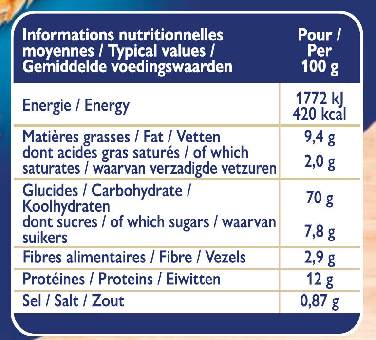 Grilletine Froment x12 - Nutrition facts - fr