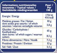 Grilletine Blé Complet x12 - Nutrition facts - fr