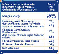Grilletine Briochée x12 - Nutrition facts - fr