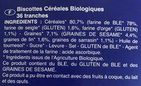 Biscottes céréales bio - Ingrédients