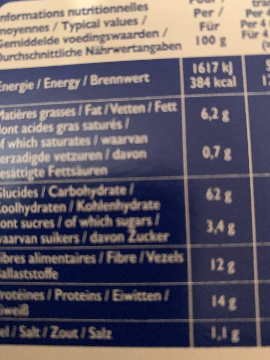Biscottes SSA Blé complet - Informations nutritionnelles - fr