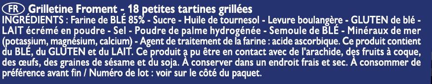Grilletine Froment x18 - Ingredients - fr