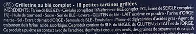 Wholemeal wheat Grilletine - Ingrédients - fr