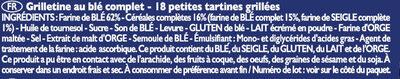 Grilletine Blé Complet x18 - Ingredientes - fr