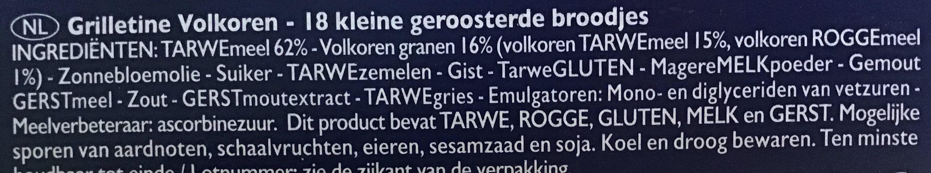 Wholemeal wheat Grilletine - Ingrediënten - nl