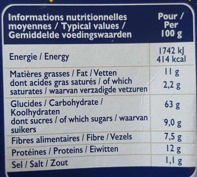 Wholemeal wheat Grilletine - Informations nutritionnelles - fr