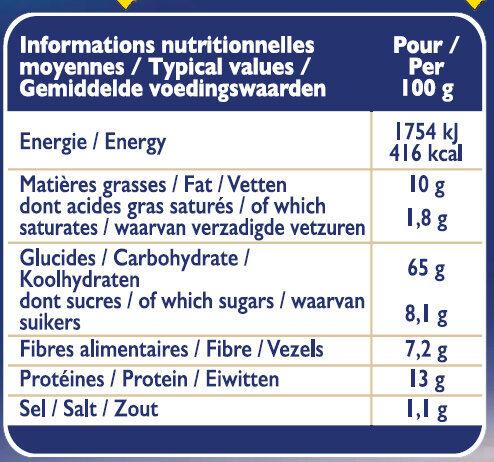 Grilletine Blé Complet x18 - Información nutricional - fr