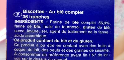 Biscottes Blé Complet 36tranches 300g - Ingrédients - fr