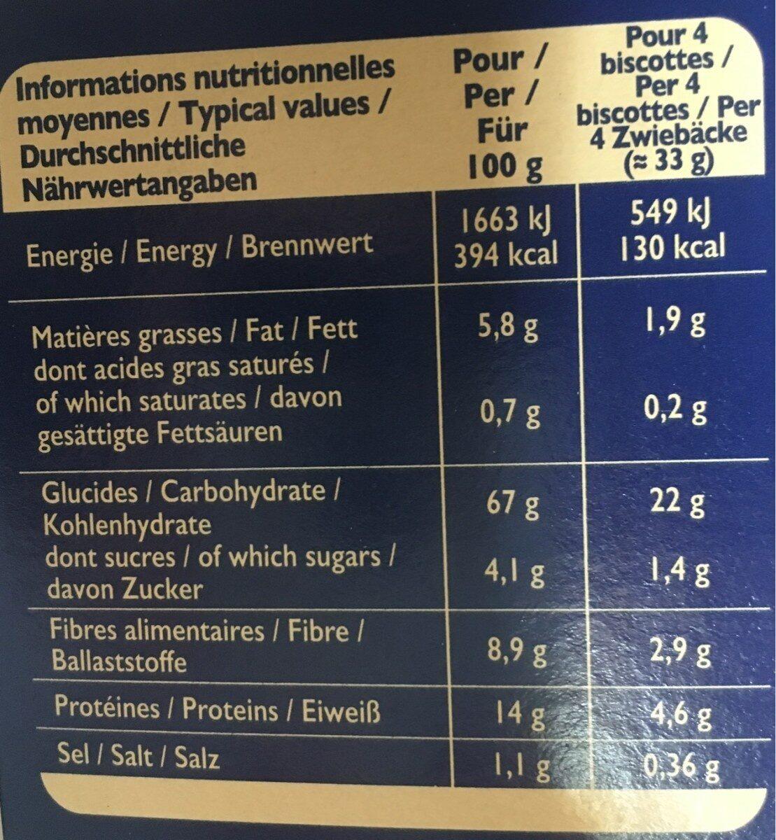 Biscottes Blé Complet 36tranches 300g - Informations nutritionnelles - fr