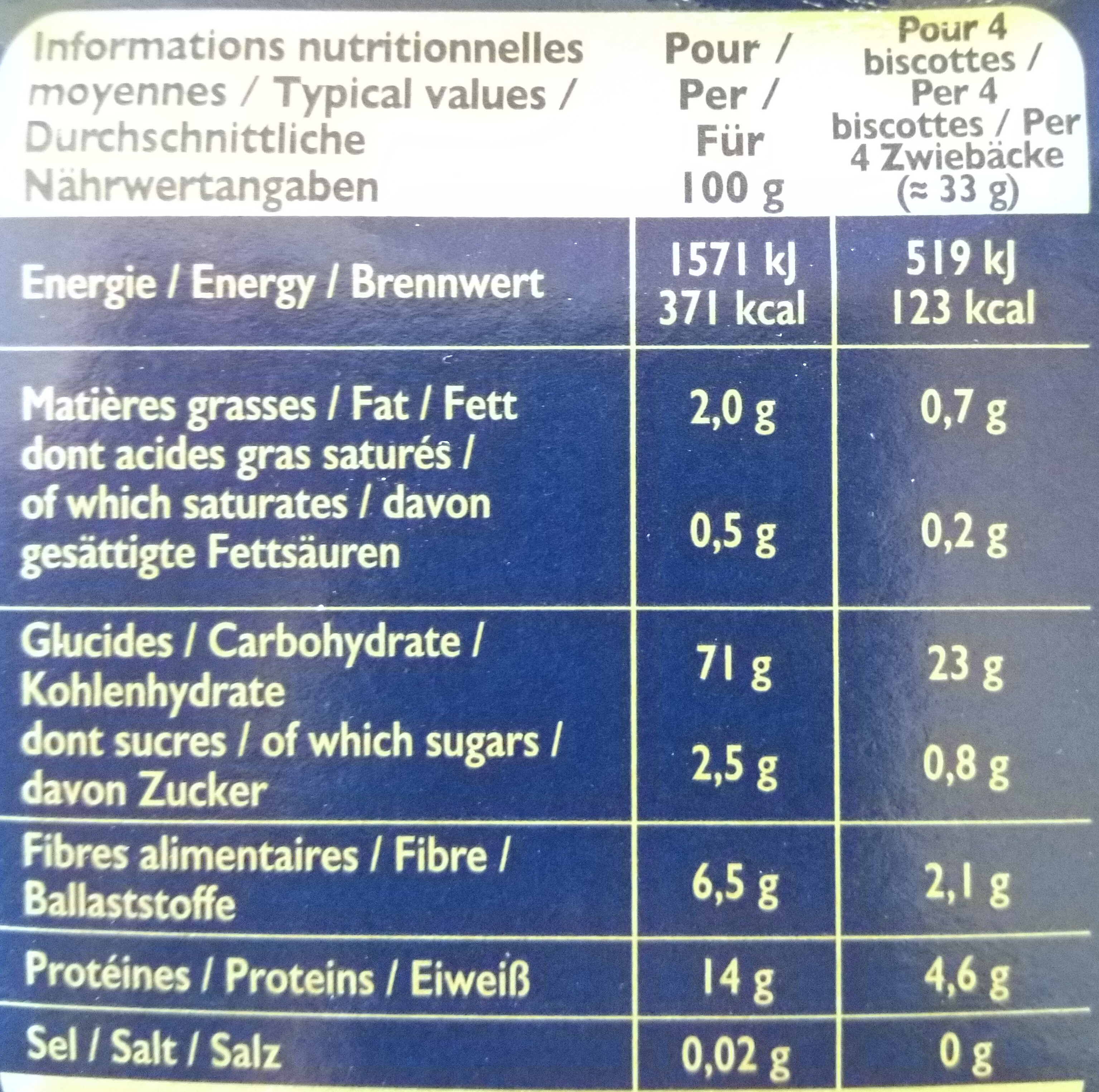 biscottes equilibre - Nutrition facts - fr