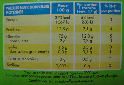 Le Pain Azyme Equilibre - Nutrition facts - fr