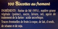Biscottes Au Froment (x 100) - Brioche Pasquier - Ingredients - fr
