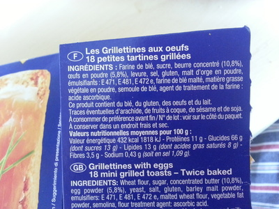 les Grillettines Briochée (18 tartines) - Brioche Pasquier - Informations nutritionnelles