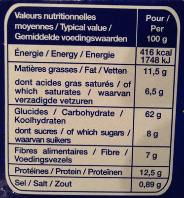 Les Grillettines (Blé Complet) - Nutrition facts - fr