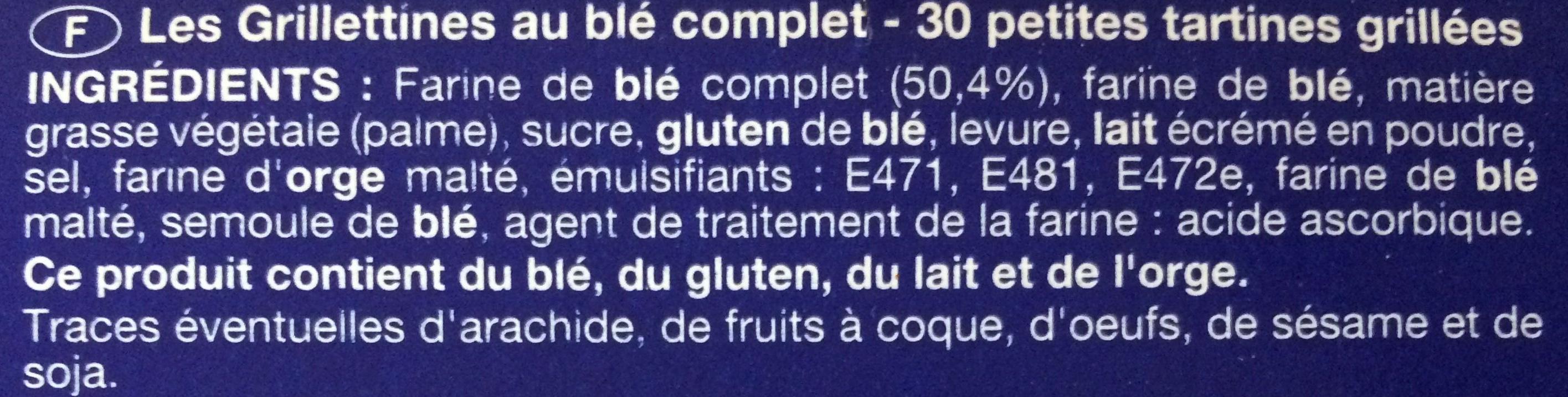 Les Grillettines au blé complet - Ingrédients