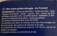 Ficelles de pain - Ingrédients