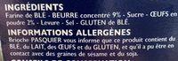Ficelles De Pain Brioché - Ingrédients - fr