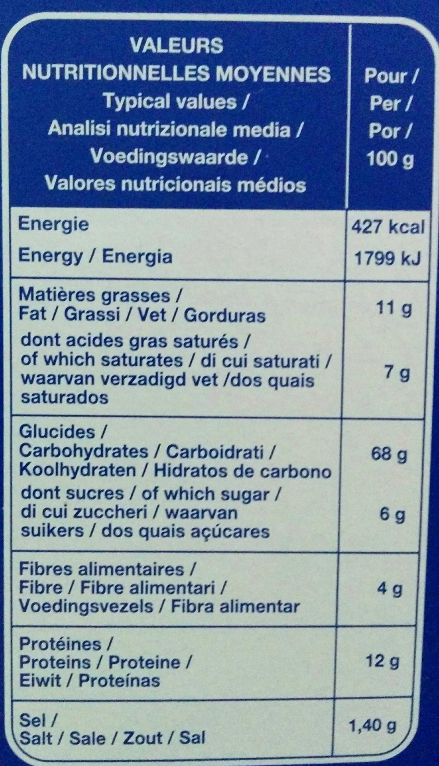 Ficelles De Pain Brioché - Informations nutritionnelles