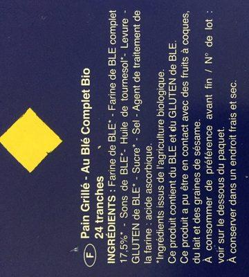 Tartines de pain - Ingredients