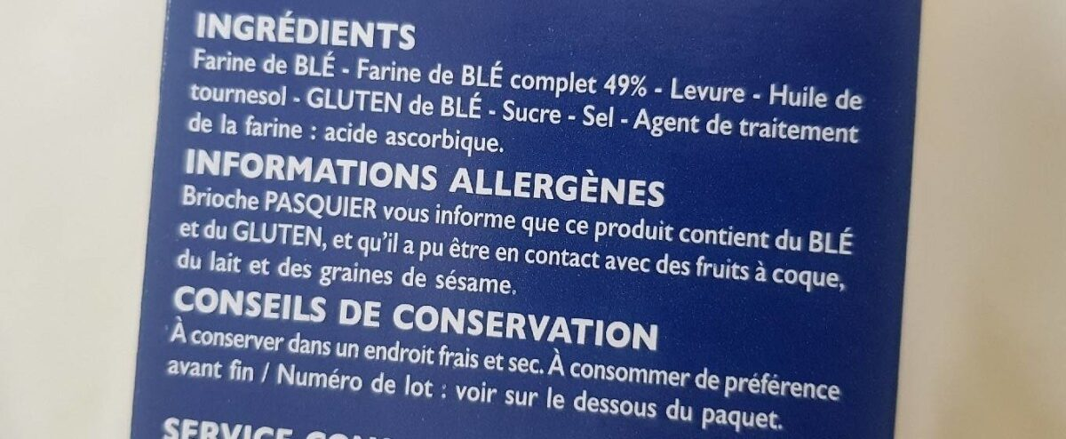 Tartines de Pain Blé Complet ×24 Tranches - Ingredients - fr