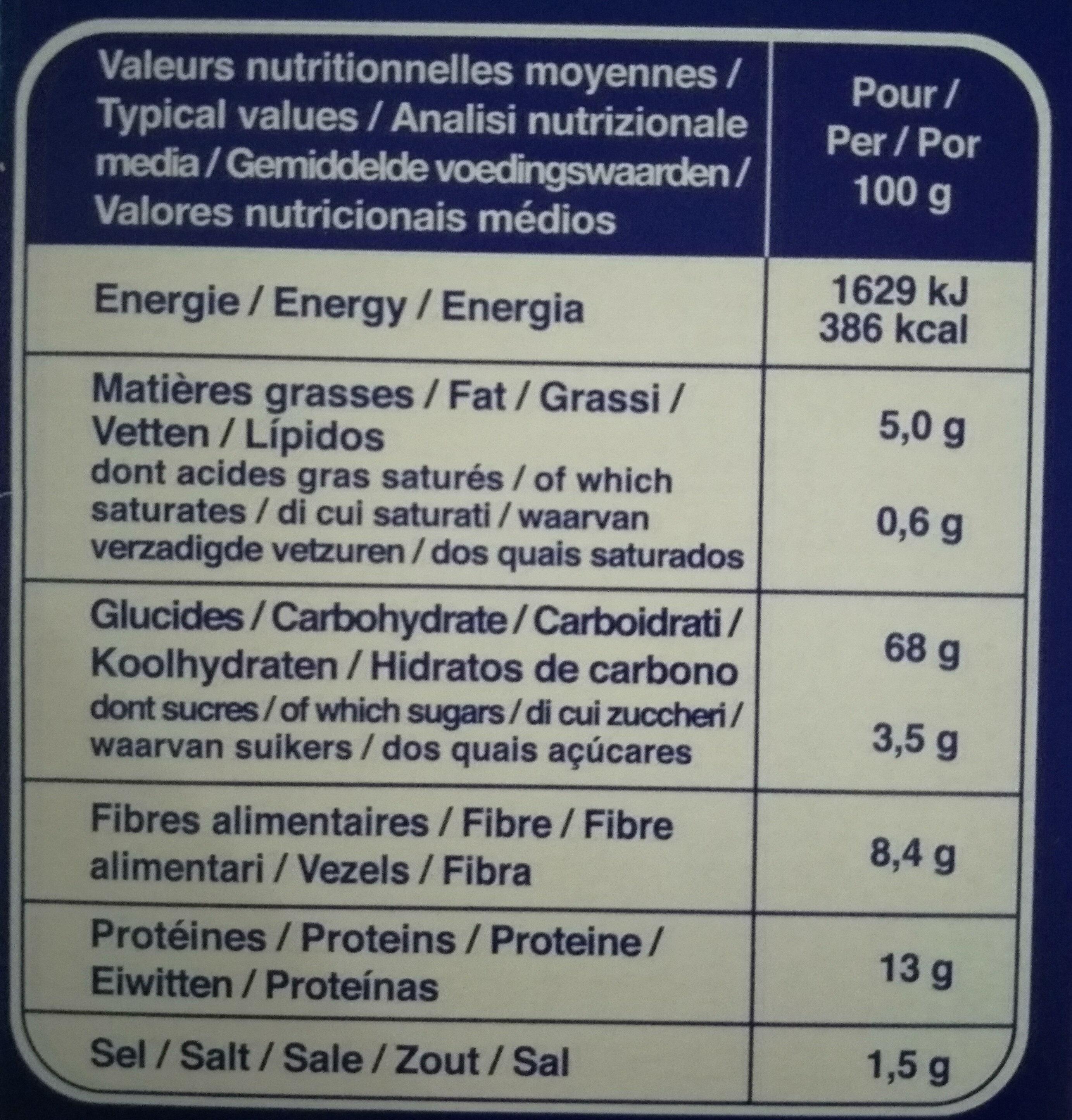 Tartines de Pain Blé Complet ×24 Tranches - Nutrition facts - fr