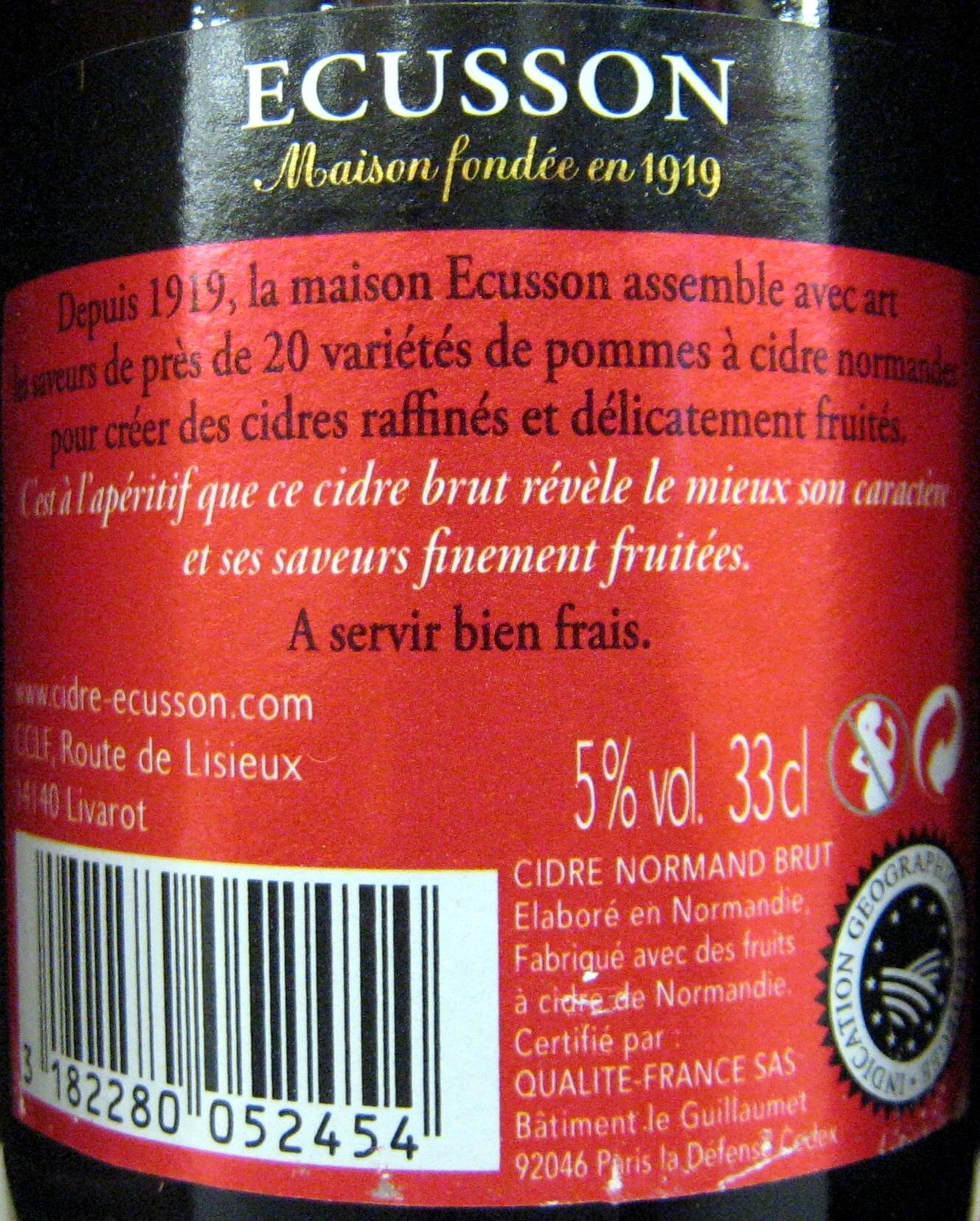 Cidre Brut Ecusson 33 cl - Ingrédients - fr
