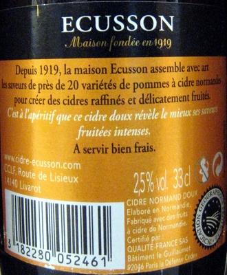 Cidre doux Ecusson 33 cl - Ingrédients - fr