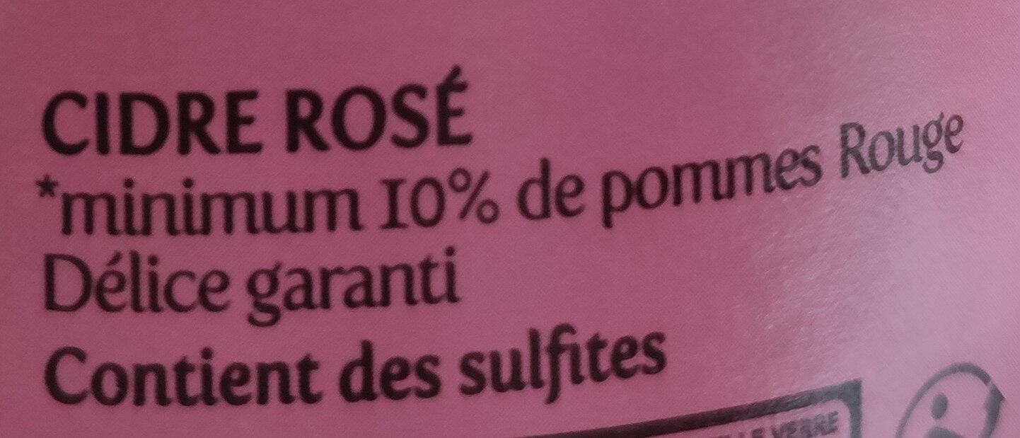 Cidre rosé frais et acidulé - Ingredients