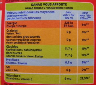 Orange Banane Fraise - Nutrition facts