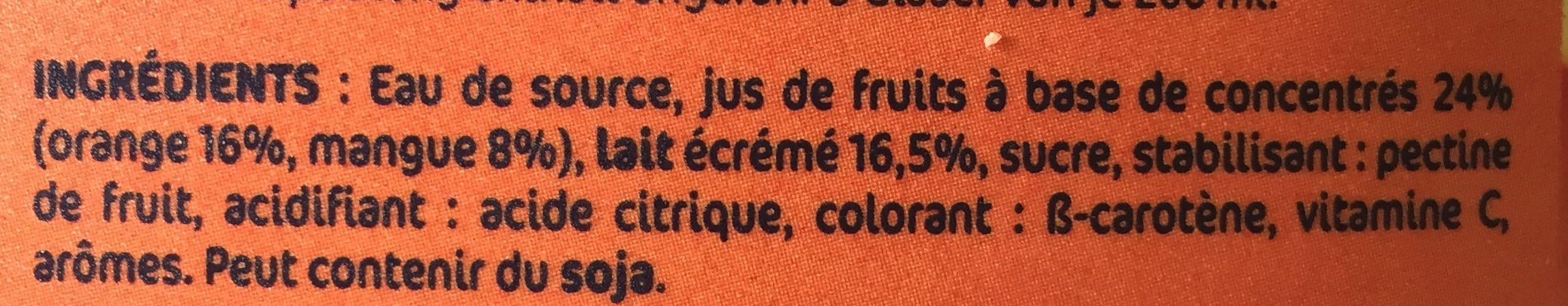 Orange Mangue - Ingredients