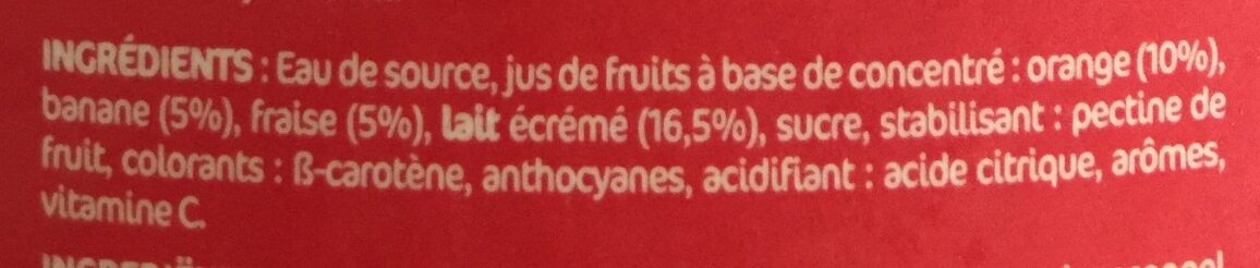 Danao orange/banane/fraise - Ingredients