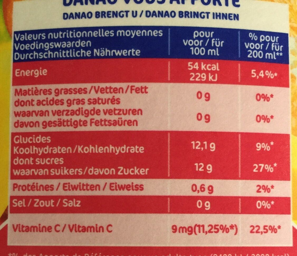Danao orange/banane/fraise - Nutrition facts